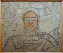 Autoportrait inachevé, Detroit, huile et fusain - 1932